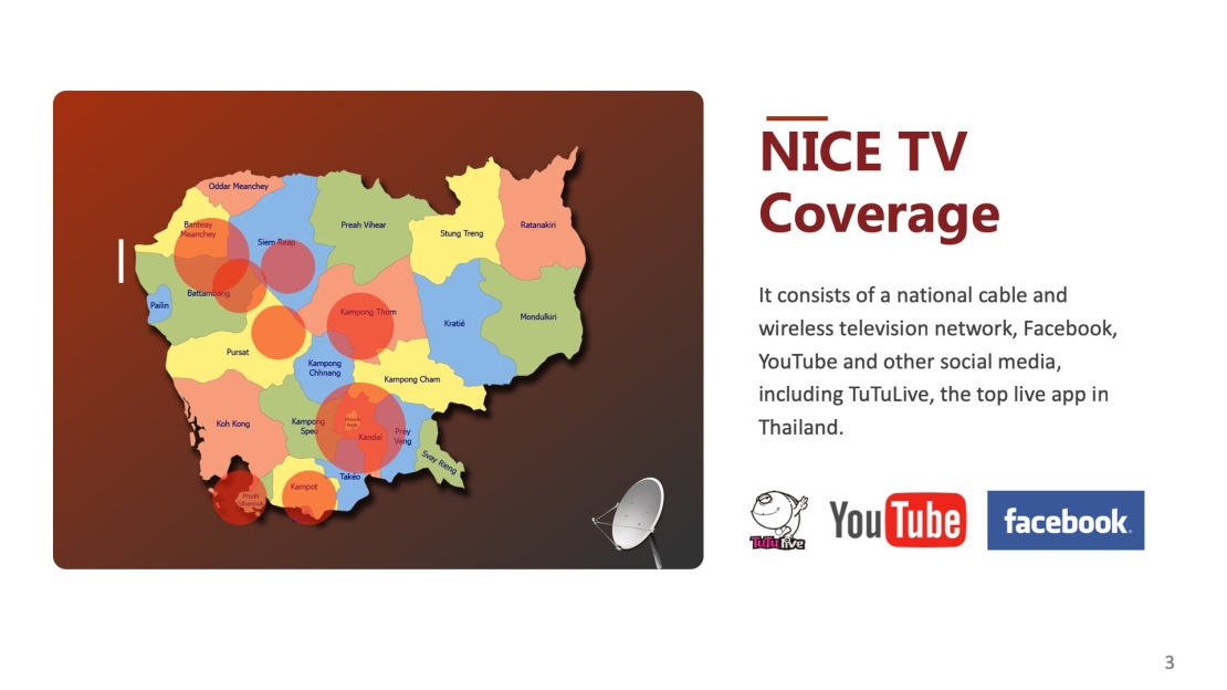 CAMBODIA NICETV TV STATION BUSINESS CHANNAL3